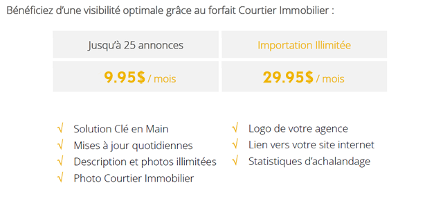 Forfait courtier immobilier